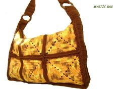Crocheted Handle Bag made with handmade cotton... by Vestberet, $30.00