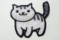 Mack standing - Neko Atsume Sew On Machine Embroidered Patch Kitty collector by JuliefooStitches on Etsy https://www.etsy.com/listing/270467339/mack-standing-neko-atsume-sew-on-machine