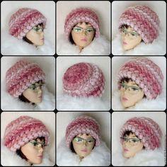 Купить Шапка вязаная женская, шапка зимняя крючком из кид мохер, теплая - розовый