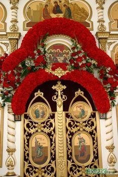 Orthodox Easter, Church Flowers, Flower Arrangements, Centerpieces, Christmas Tree, Halloween, Holiday Decor, Orthodox Christianity, Easter Decor