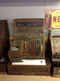ANTIQUE Early 1900's National Cash Register Brass Finish Indiana