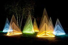 "Sébastien Preschoux // ""Nuit Blanche"" // Seven wooden structures (3m) made of thread and light"