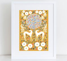 Scandi Mustard Greyhounds  A4 Giclee Print  Art Print