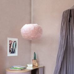 Crushing on all things blush? We've got just the thing. A fresh take on the iconic EOS lamp shade, this rose coloured version is made from approximately 1800 all-natural goose feathers for a dream-lik Sweetpea And Willow, Feather Lamp, Paper Structure, Soft Pink Color, Kids Lighting, Upholstered Beds, Mirror With Lights, Light Shades, Pendant Lamp