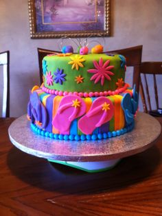Flip Flop Cake - Fun summer birthday cake with flip flops made from fondant and gum-tex.