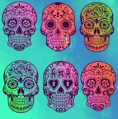 Colorful SUGAR SKULL art <3