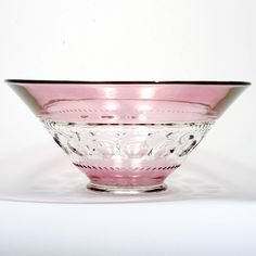 This exquisite, vintage 1940s, elegant glass, cranberry flashed centerpiece bowl…