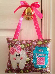 Items similar to Tooth Fairy Embroidered Pillow For Girls on Etsy Tooth Fairy Pillow, Teeth, Diaper Bag, Embroidery Designs, Applique, My Etsy Shop, Reusable Tote Bags, Pillows, Girls