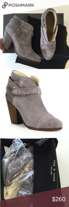 Rag and Bone Harrow Booties - Graphite Suede Brand new in box with all original packaging.  Celebrity favorite and crazy comfy.  Size 38.5 but fits like an 8 with no socks (what I do) or 7.5 with socks.  Lowballers will be quickly declined. rag & bone Shoes Ankle Boots & Booties