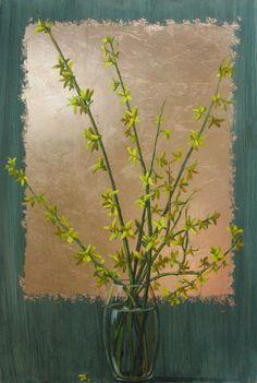 "Bridget Bossart van Otterloo ""Forsythia in Vase"" 36x24 oil, copper leaf   $3000."