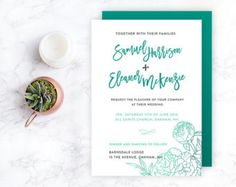 Shop for on Etsy, the place to express your creativity through the buying and selling of handmade and vintage goods. Teal Wedding Invitations, Diy Wedding Invitations Templates, Invites, Teal Flowers, Flower Template, Simple Weddings, Easy Diy, Place Card Holders, Creative