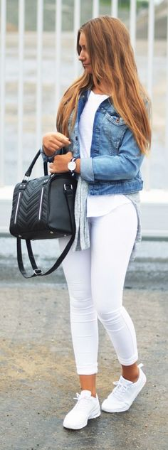 Cecile Stenfeldt Denim On Total White Outfit