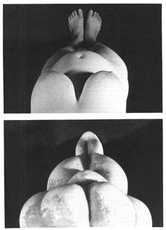 LeRoy McDermott argues that paleolithic venus figurines lose their distorted proportions and acquire representational realism if we understand that they are self-portraits created by women looking down at their own bodies. If we look down at our own bodies, breast and belly dominates the visual field, navels seem nearer the pubis, legs are foreshortened and buttocks appear elevated - all features seen in the figurines. (click through for full article) Ancient Art, Ancient History, Art History, Sacred Feminine, Divine Feminine, Woman Looking Down, Art Pariétal, Art Rupestre, Ancient Goddesses