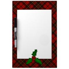 Adorable Red #Christmas tartan look with Holly twig Dry-Erase Whiteboard by #PLdesign
