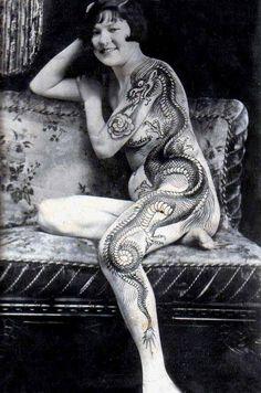 vintage circus tattooed lady