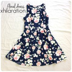 XHILARATION floral dress PRELOVED in excellent condition. worn once to Hawaii's first Poshmark meet up! navy blue with a beautiful floral design. perfect for spring and summer days. zipper on the left side  size- small length- 34.25 inches from shoulders down width- 13.75 inches at waist laying flat  BUNDLE FOR BETTER PRICE- please don't hesitate to ask questions. thanks for looking ☺️ Xhilaration Dresses
