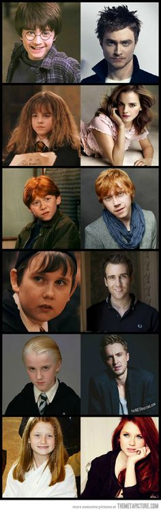 Harry Potter then and now. harrry, ron, neville, and draco are all attractive. this pic. should have luna on it though.