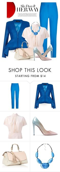 """""""Pantsuit Her Way"""" by velvetmahya ❤ liked on Polyvore featuring Victoria, Victoria Beckham, Safiyaa, RED Valentino, Prada, Kim Rogers, Burberry and pantsuit"""