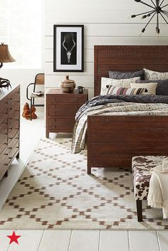 Wild West Chic is happening. King Bedroom Sets, Cozy Bedroom, Master Bedroom, Rustic Feel, Rustic Charm, Wood Accents, Camden, Bedroom Furniture, House Design