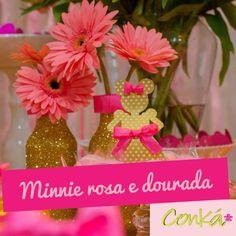 Decor by Conká www.conka.com.br @conkaloja   #minnie #minnierosa #minnierosaedourada #dourado #pinkandgold #gold #pink #festainfantil #party #kidsparty #festa #niver #festainfantil #decoração #festadecriança #aniversário #bsb #brasilia #minhabrasilia #Brasília #aniversariodecrianca #aniversáriodecriança #conká #decor #shabbychic