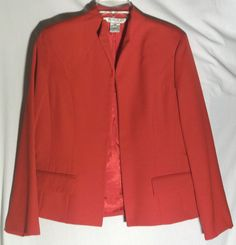 AUSTIN REED Red 100% Worsted Wool Jacket/Blazer - Open Front - Pockets - Size 12 #AustinReed #JacketDuster