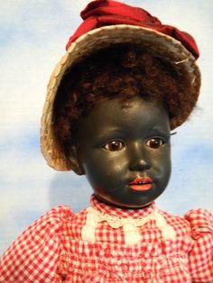 "Rare! 14"" Simon & Halbig 1368  Black Bisque Character Original"