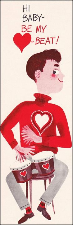Be My Beat! - Valentine's Day card from the 1960s