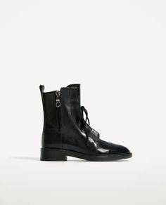 Image 2 of BLACK LEATHER ANKLE BOOTS from Zara
