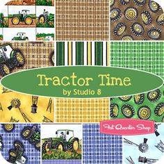 ~ Tractor Time Fat Quarter Bundle Studio 8 for Quilting Treasures - Fat Quarter Shop Tractor Quilt, Working Hands, Jelly Rolls, Fat Quarter Shop, Charm Pack, Quilting Patterns, Baby Crafts, Fat Quarters, Craft Gifts