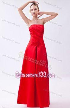 Red Column Strapless Floor-length Beading Dama Dresses For Quinceanera
