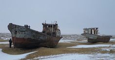 Muynak, Uzbekistan  After having its water diverted by the Soviets, this lake dried up, leaving a ship graveyard in its wake.