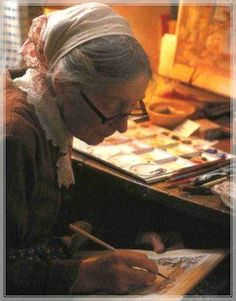 Tasha Tudor painting in her studio -The Secret Garden illustrated by Tasha Tudor is one of the best author/illustrator combinations ever!