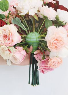 the look of a fresh bouquet of loose stems with this floral supply silk bouquet holder with fake stems. Use arranger to make beautiful hand-held silk bouquets. Simply insert flowers into foam. Save money on floral design supplies at . Diy Bouquet Mariage, Diy Wedding Bouquet, Wedding Flower Decorations, Diy Wedding Flowers, Floral Wedding, Diy Wedding Flower Arrangements, Wedding Centerpieces, Fake Flower Centerpieces, Fake Flowers Decor