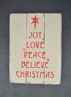 Christmas Wall Art £24.99 #Joy #Love #Peace #Believe #Christmas #Art #Gifts #Wooden
