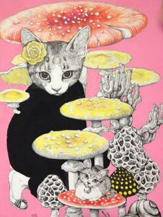 higuchi yuko; I just like the little kitty with a bell collar sitting on a mushroom