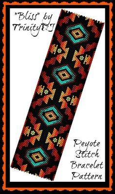 Bliss Peyote Stitch Beadwork by TrinityDJ Peyote Stitch Patterns, Seed Bead Patterns, Weaving Patterns, Bead Loom Bracelets, Beaded Bracelet Patterns, Jewelry Patterns, Peyote Beading, Bijoux Diy, Beaded Bracelets