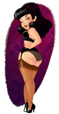 Bettie Page pinup by Olaya Valle