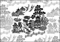 Create Chinoiserie-inspired art with a stencil.