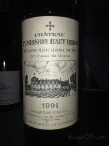 """1991 Château La Mission Haut-Brion  Our first red of the evening. We let her air out the old, leather-bound library books for 2+ hours…really started sipping nicely at 3+ hours. A dark ruby-red with a brown rim that screams """"sip me now…or someone else will"""". Smokey, over-ripe berries on the nose with all sorts of thoughts swirling around our head, i.e. old library books, wet forest, prunes, mushrooms, dirty socks…the list fades into old and recent memories. Sophisticated, elegant, and rich…"""
