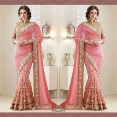 Pink georgette and brocade designer saree  PRODUCT INFO : Saree : Georgette + Net Blouse : Brocade + Net Unstiched Blouse  Price : 3100 INR ONLY ! #SHOPNOW  World Wide Shipping Available ! ✈ PayPal / WU Accepted 👉 C O D Available In India ! Shipping Charges Extra 👉 Stitching Service Available 👉 To order / enquiry 📲 Contact Us : +91 9054562754 ( WhatsApp Only )