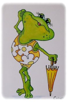 Grenouille en maillot Cartoon Drawings, Cartoon Art, Cute Drawings, Animal Drawings, Funny Frogs, Cute Frogs, Frog Rock, Art Fantaisiste, Frog Drawing