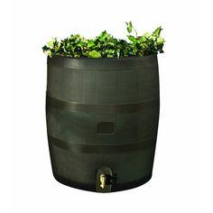 Round Rain Barrel with Built in Planter - 35 Gallon Capacity
