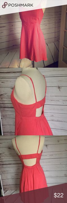 Sweet Summer dress American Eagle Outfitters.  Size Small.  Lined. Pretty salmon pink color. Adjustable spaghetti straps.   Like new American Eagle Outfitters Dresses