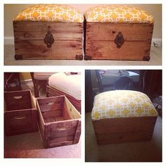 Wine Crate Storage Ottomans by CargobyCameron on Etsy, $45.00