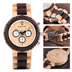 Wooden Watches For Men, Wood Watch, Chronograph, Quartz, Luxury, Leather, Europe, Military, Bracelets