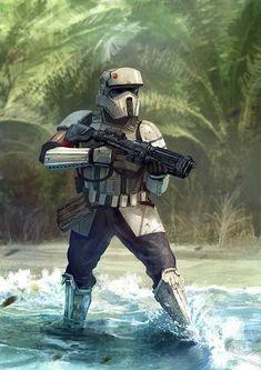 Star Wars: Rogue One - Shore Trooper Star Wars Fan Art, Star Wars Concept Art, Star Wars Gifts, Star Wars Clone Wars, Star Trek, Chewbacca, Star Wars Pictures, Star Wars Images, Star Wars Characters Pictures