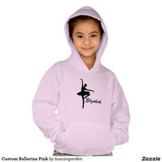 Custom Ballerina Pink Hooded Pullover for girls with her name printed on it! You can choose more colors. #dance #hoodie