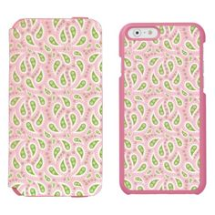 """Green Paisley on Pale Pink Incipio Watson™ iPhone 6 Wallet Case Personalize your own iPhone case on Zazzle! Click the """"Customize"""" button to insert your own artwork, design, or pictures to make a one of a kind case. Try adding text using great fonts and preview your design! This easy to customize iphone 6 case has no minimum order and is made after you order. Browse and read customer reviews below detail of product page…"""