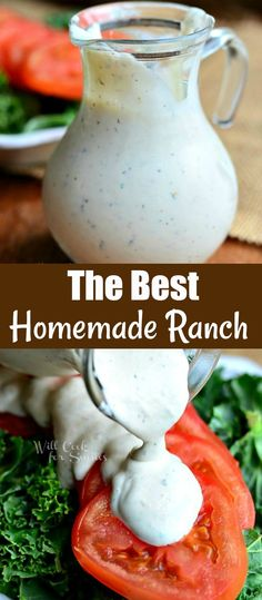 The BEST Homemade Ranch This buttermilk Ranch is ready in just 5 minutes and can be easily turned into a dip by making it thicker. This Homemade Ranch dressing is made with buttermilk, fresh herbs, garlic, and peppercorns. Homemade Dressing Recipe, Homemade Ranch Dressing, Salad Dressing Recipes, Easy Ranch Dressing Recipe, Salad Dressings, Buttermilk Recipes, Homemade Buttermilk, Beef Recipes For Dinner, Appetizers