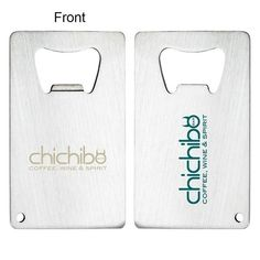 A flat slim Credit Card size bottle stainless steel opener with a beautiful brush steel finish. For a lasting imprint, we recommend laser engraving.